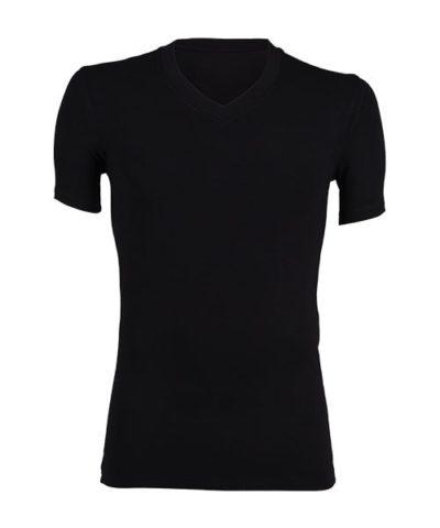 Bamboe shirt V-hals zwart-0